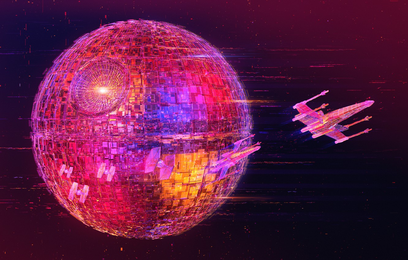 Photo wallpaper Neon, Space, Fighter, Star Wars, Style, Empire, Space, Spaceships, Spaceship, Fiction, Neon, Fighters, X-Wing, The …