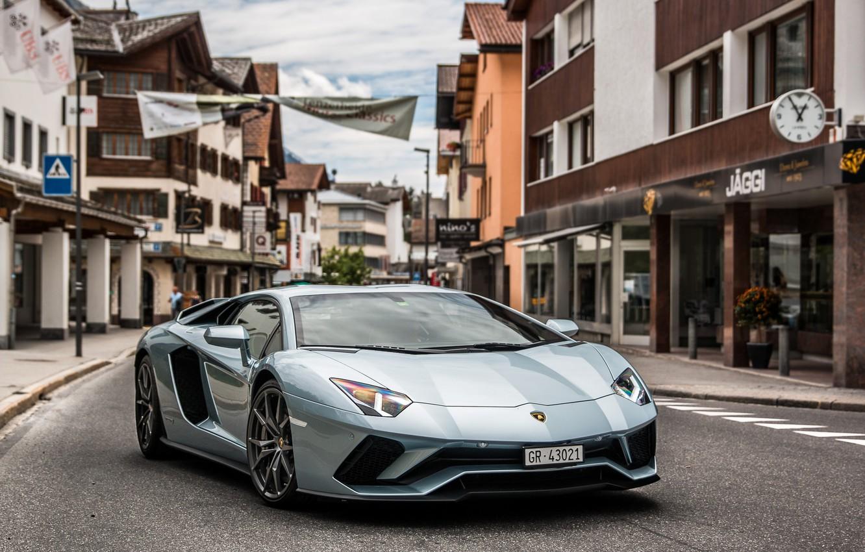 Photo wallpaper Lamborghini, Street, Aventador