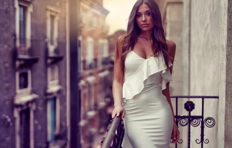 Photo wallpaper girl, model, figure, white dress, on the balcony, Marco Squassina, Marika Pandolfo, bacon