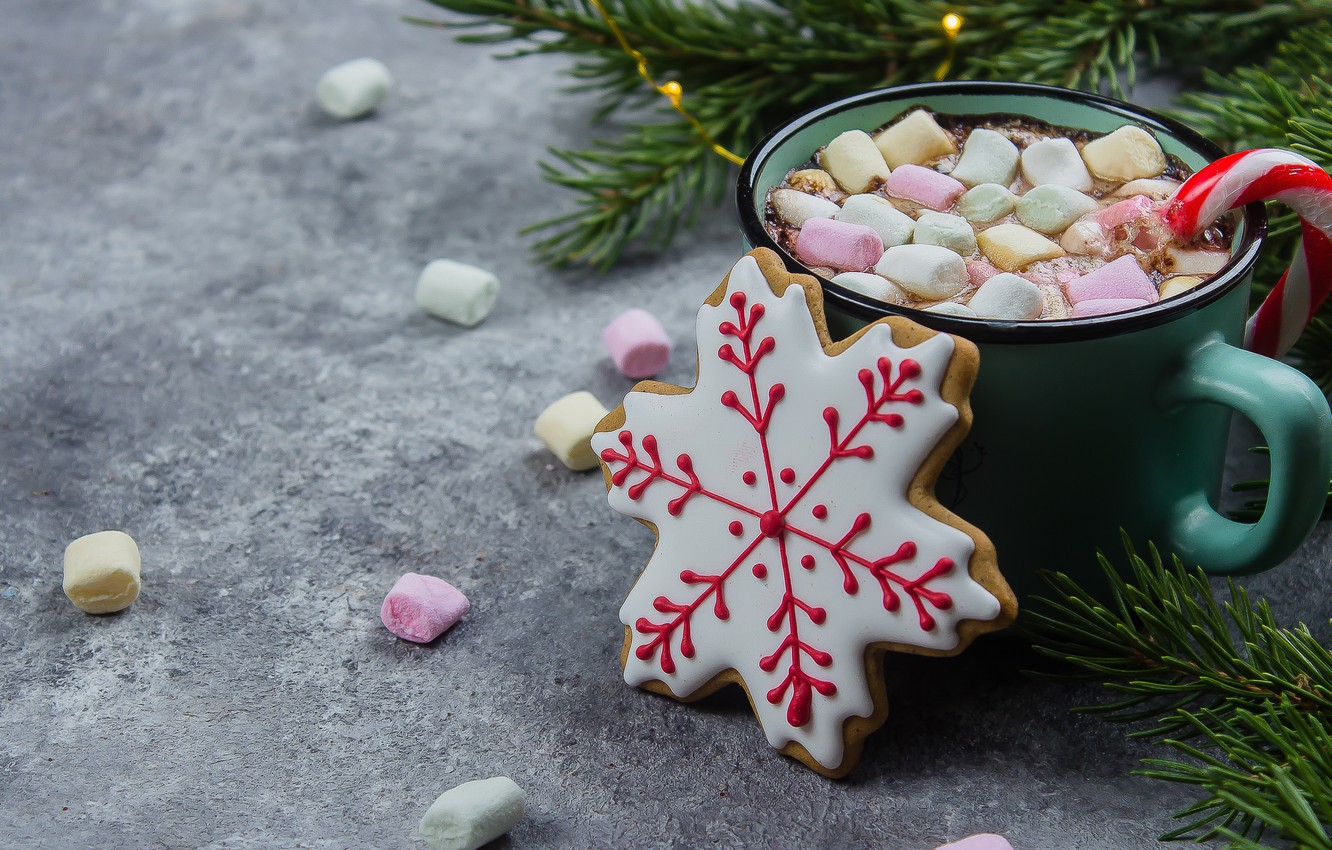 Wallpaper Decoration Tree New Year Cookies Christmas Mug Christmas Cup New Year Cocoa Decoration Merry Hot Chocolate Marshmallow Marshmallows Images For Desktop Section Novyj God Download