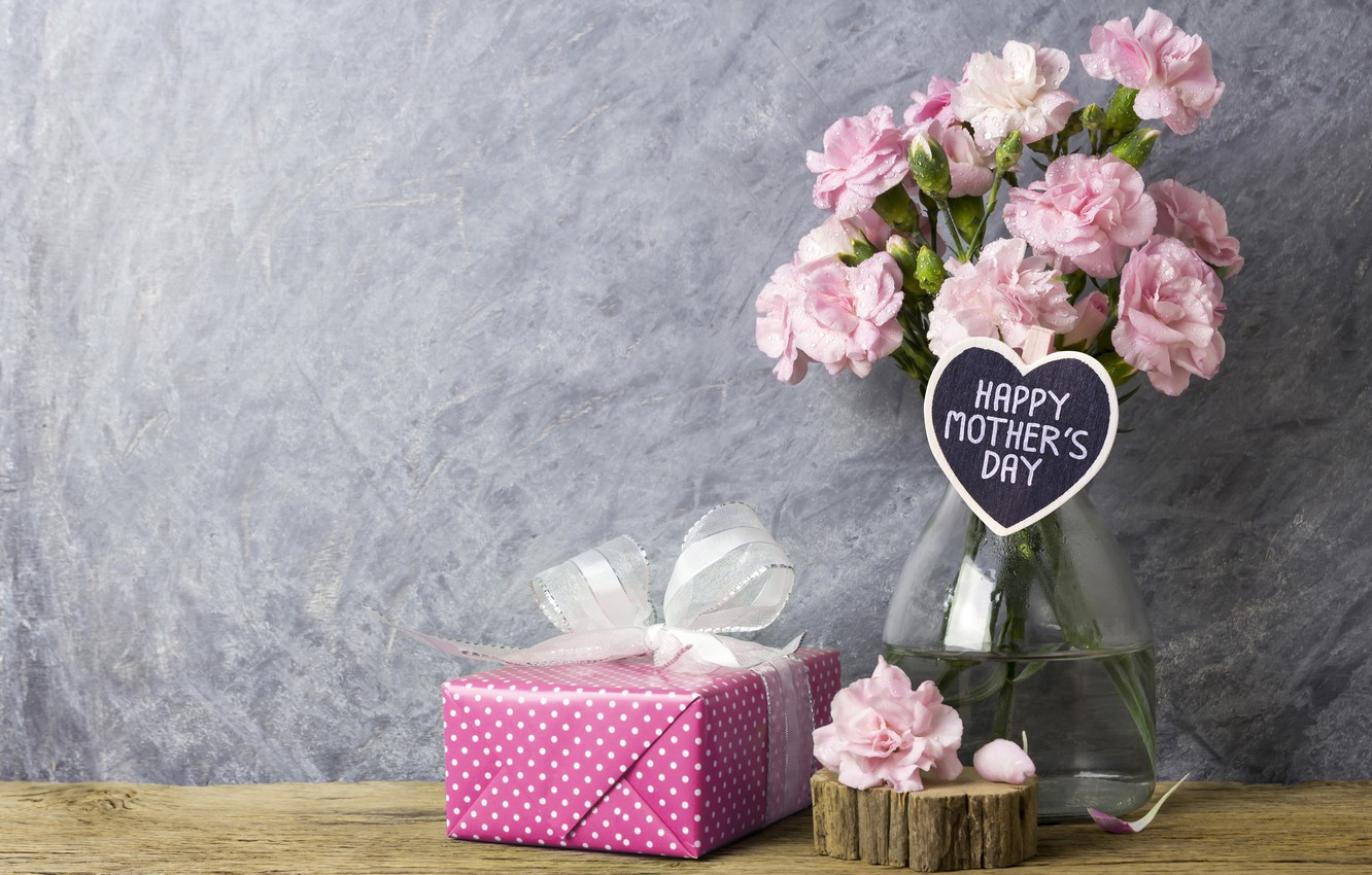 Photo wallpaper flowers, gift, petals, pink, happy, vintage, wood, pink, flowers, beautiful, romantic, gift, mother's day