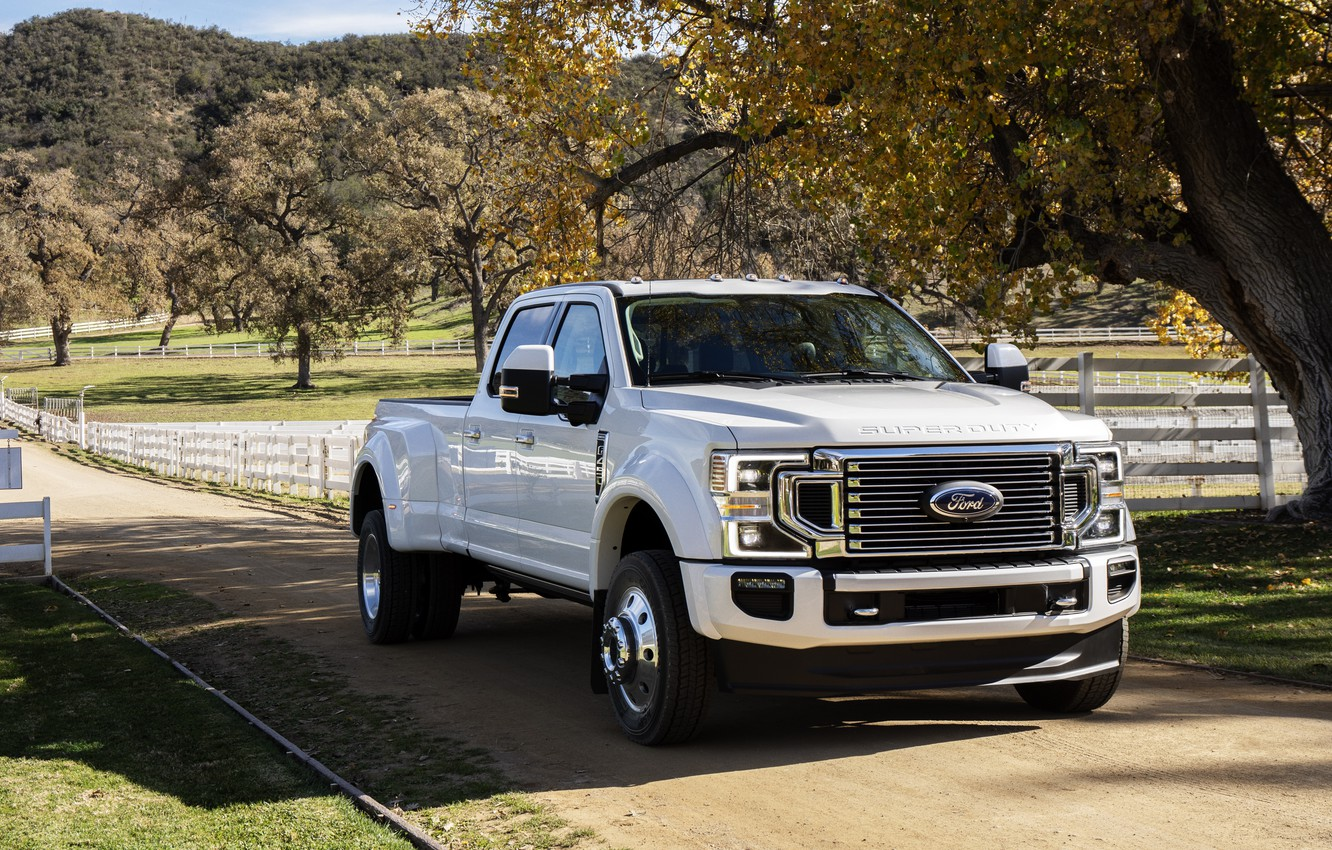 Photo wallpaper machine, trees, Ford, pickup, Super Duty, F-450, Limited