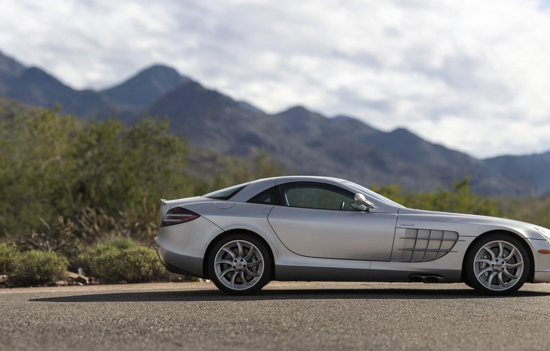 Photo wallpaper Supercar, Silver, Side view, Mercedes-Benz SLR McLaren