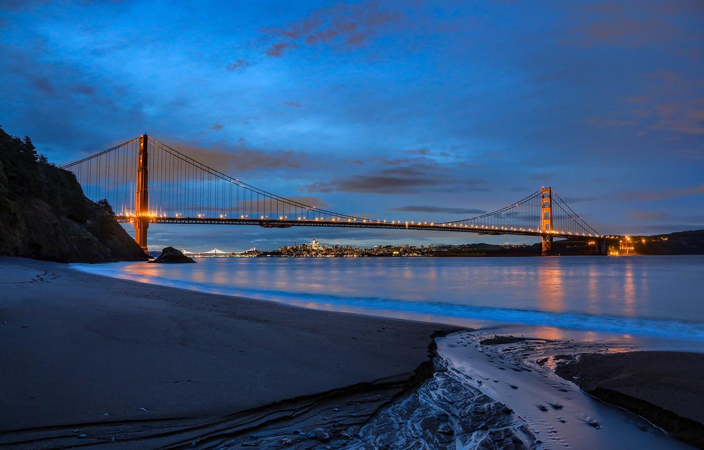 Photo wallpaper landscape, bridge, lights, Strait, shore, the evening, Golden gate, Golden Gate Bridge, San Francisco, San …