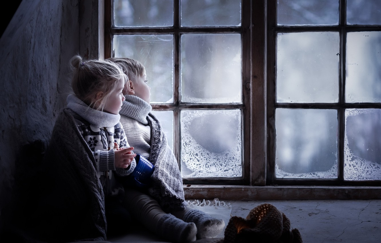 Photo wallpaper children, house, window
