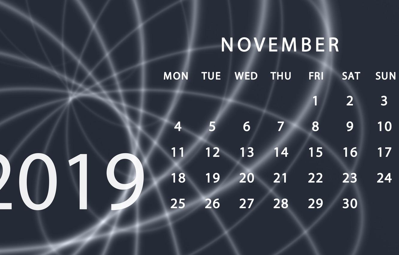 Photo wallpaper calendar, November, 2019