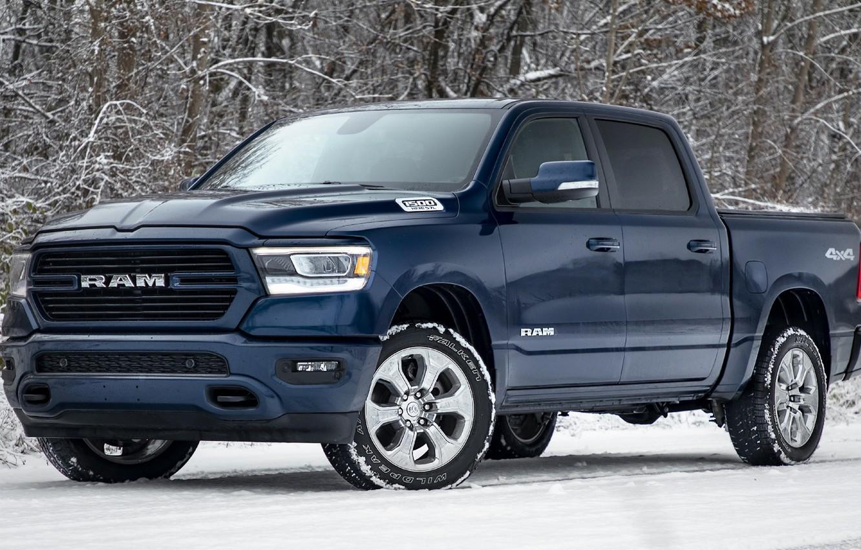 Photo wallpaper forest, snow, blue, Dodge, Dodge, pickup, Dodge Ram 1500, Big Horn, Ram 1500 Big Horn …