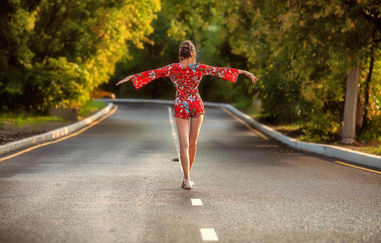 Photo wallpaper girl, road, dress, legs, trees, brown hair, photo, photographer, model, brunette, back, sandals, portrait, walking, …