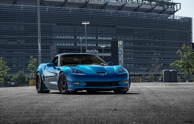 Photo wallpaper Corvette, Chevrolet, ZR1, Blue, Hybrid, Forged, Series, Wheels, CCW, HSP2K