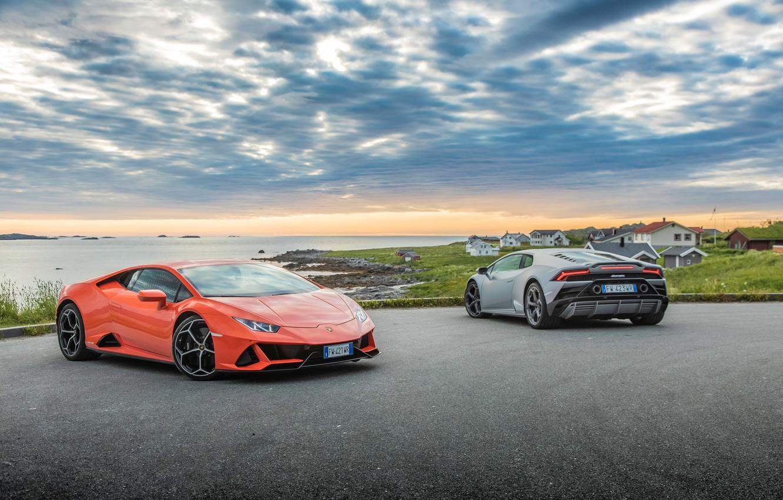 Photo wallpaper the sky, water, machine, Lamborghini, Evo, Huracan