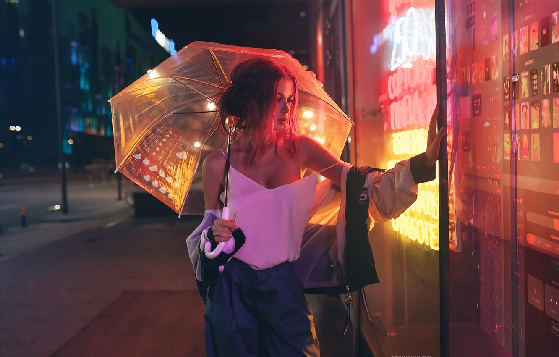 Photo wallpaper chest, look, girl, umbrella, red, showcase, Inga Lis, Rome Rome