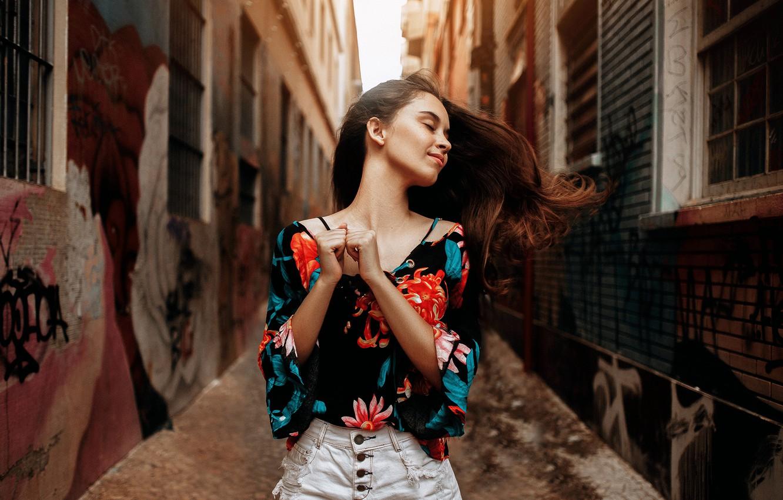 Photo wallpaper girl, pose, street, blouse