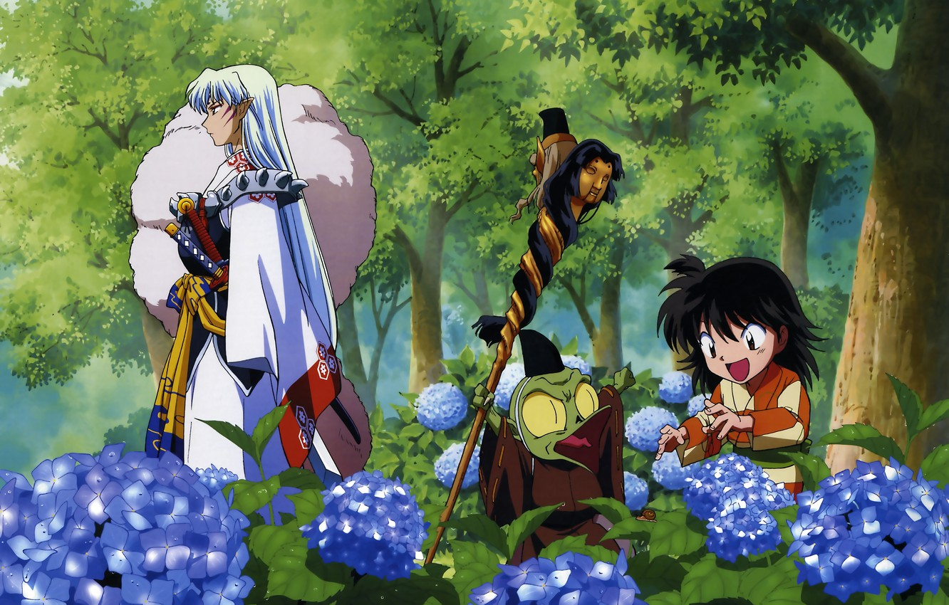 Photo wallpaper butterfly, child, the demon, staff, walk, Japanese clothing, art, hydrangea, Rin, youkai, Inuyasha, Inuyasha, Rumiko ...