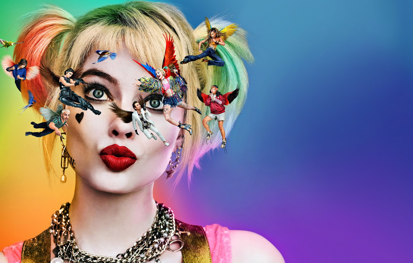 Photo wallpaper Harley, Action, One, Beautiful, Birds, Mad, the, Colorful, Men, Girls, Female, Guns, Eyes, Women, Blonde, …
