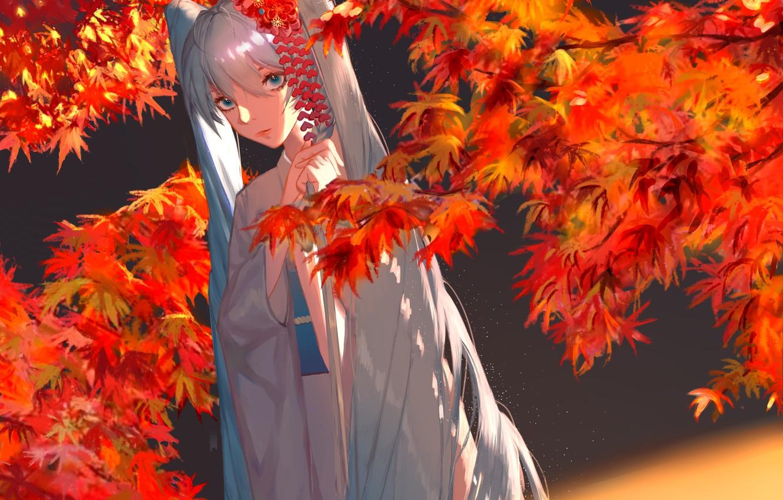 Photo wallpaper autumn, girl, Hatsune Miku, Vocaloid