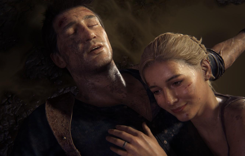 Photo wallpaper smile, Naughty Dog, Playstation 4, Uncharted 4, Nathan Drake, Elena Fisher