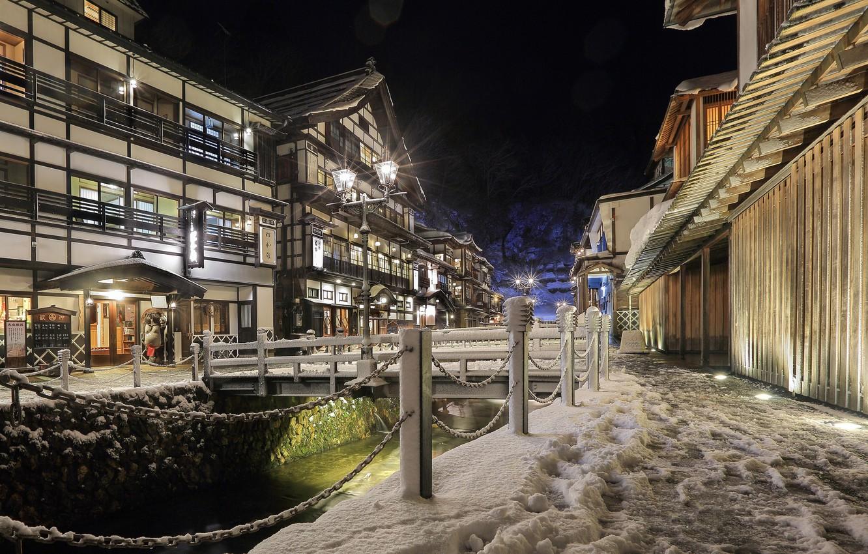 Photo wallpaper snow, night, street