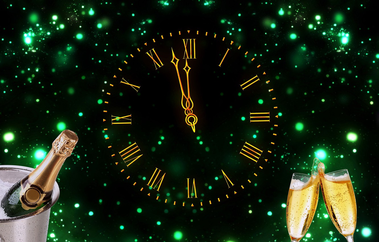 Wallpaper Watch Glasses New Year Dial Champagne
