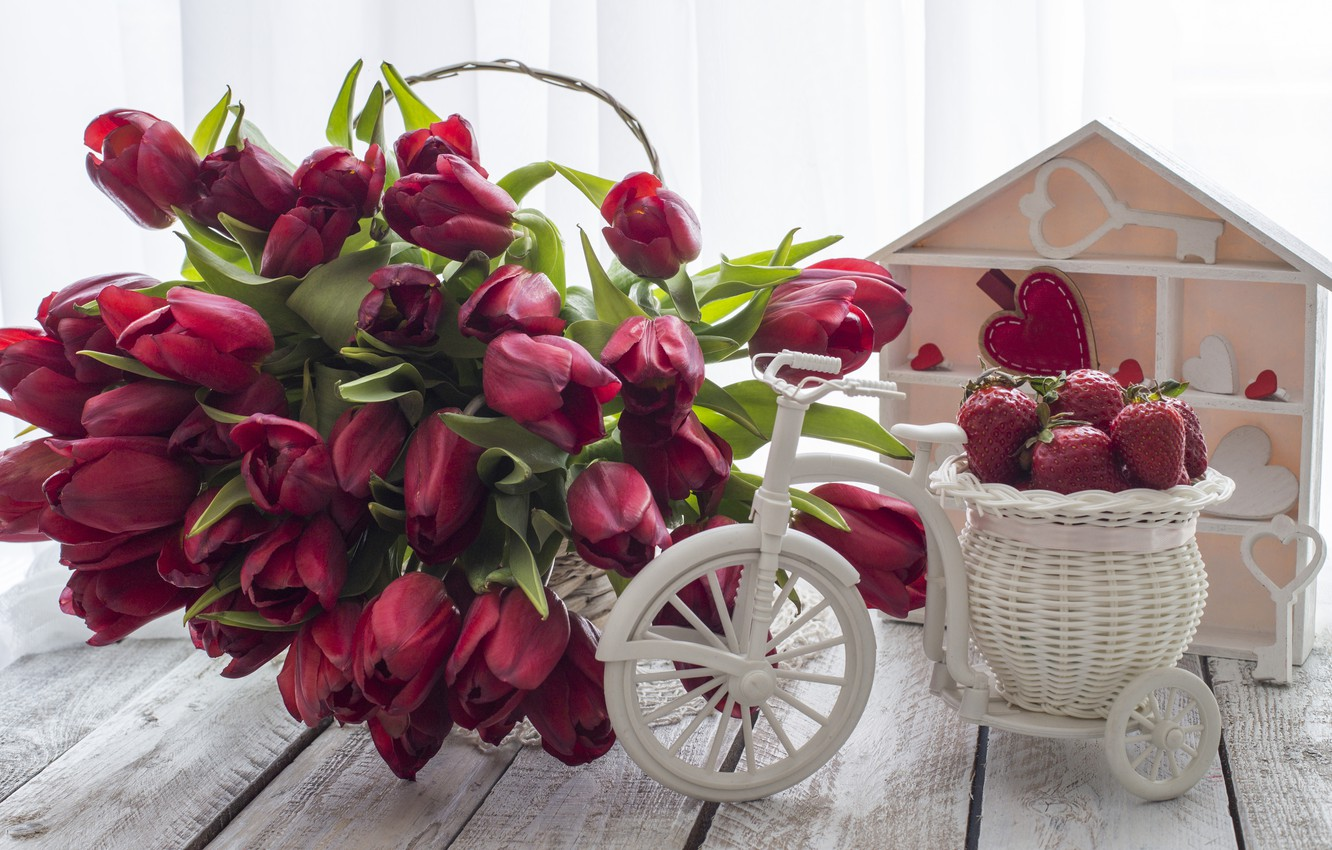 Photo wallpaper love, bouquet, strawberry, hearts, tulips, red, red, love, wood, flowers, romantic, hearts, tulips, valentine's day, …