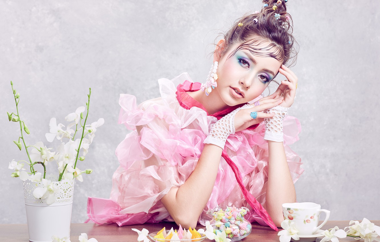 Photo wallpaper look, girl, flowers, pose, style, makeup, sweets, Sofie, Orchid