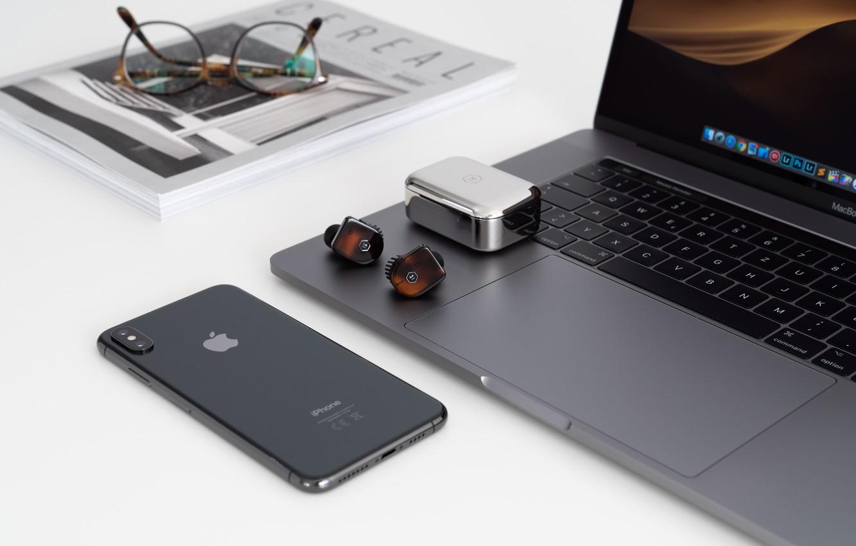 Photo wallpaper iPhone, Mac, headphones, glasses, phone, journal, headphones, iPhone, Apple, poppy, glasses, case, MacBook, phone, magazine, …