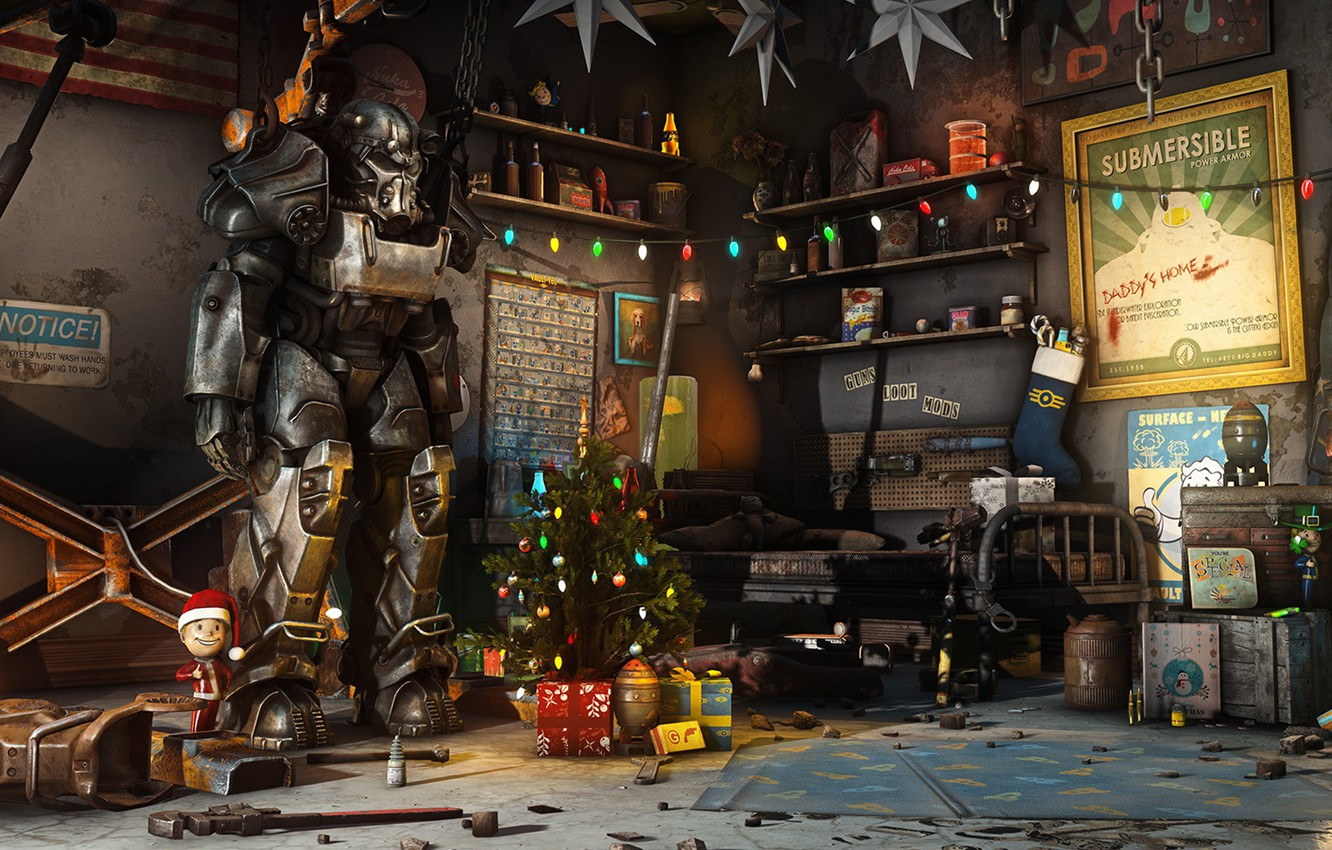 Wallpaper Christmas New Year Weapons Decoration Garage