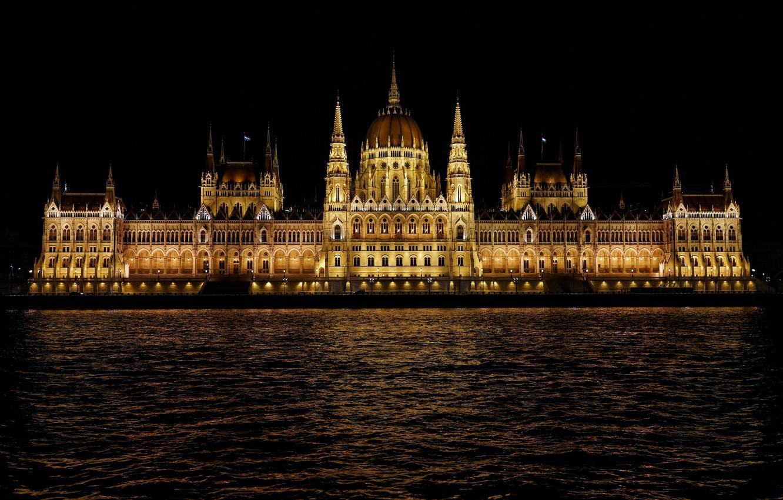 Photo wallpaper water, night, Hungary, Budapest