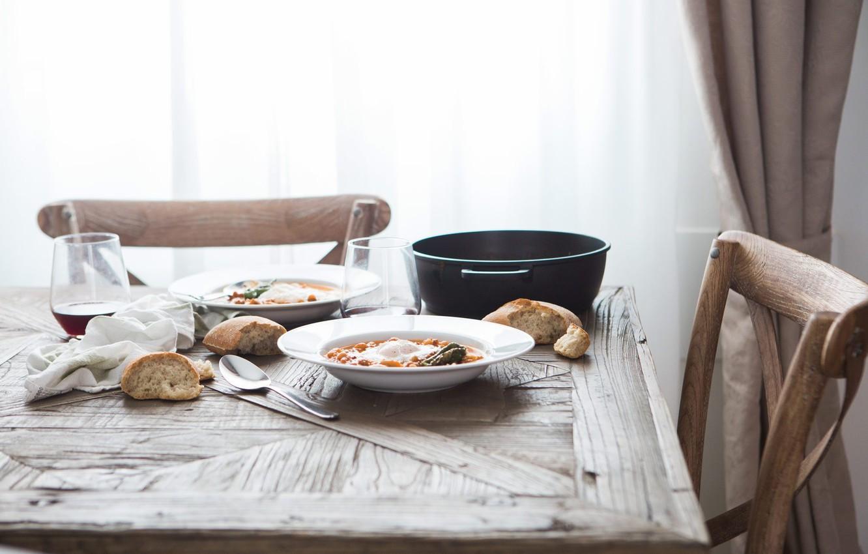 Photo wallpaper table, bread, chair, spoon