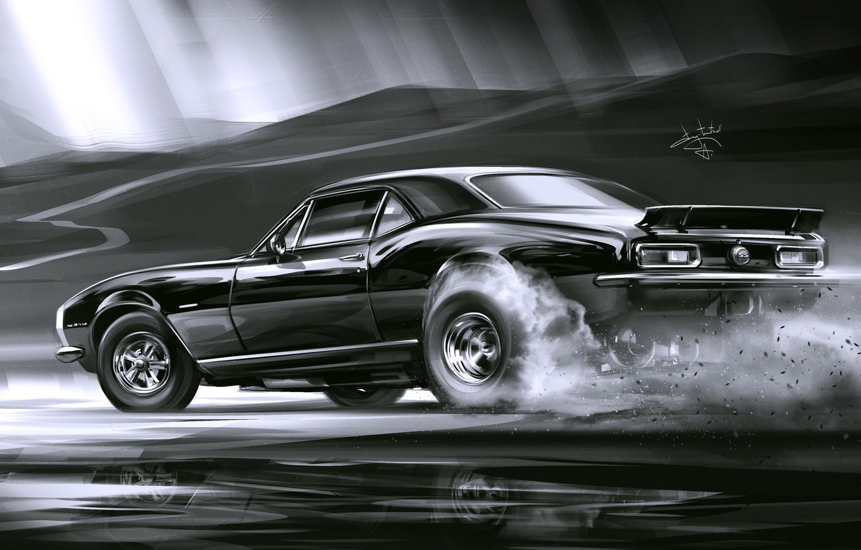 Photo wallpaper Car, Art, Black, Smoke, Sketch, Alexander Sidelnikov, Chevrolet Camaro SS 1969
