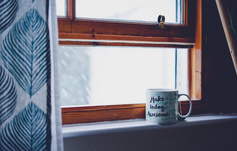 Photo wallpaper text, food, cup, words, mood, window, tea, inscription, mug, moods