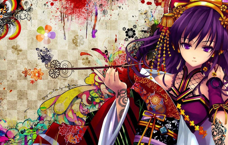 Photo wallpaper stay, patterns, tube, decoration, patterns, beautiful girl, decoration, beautiful girl, big eyes, anime art, tube, …