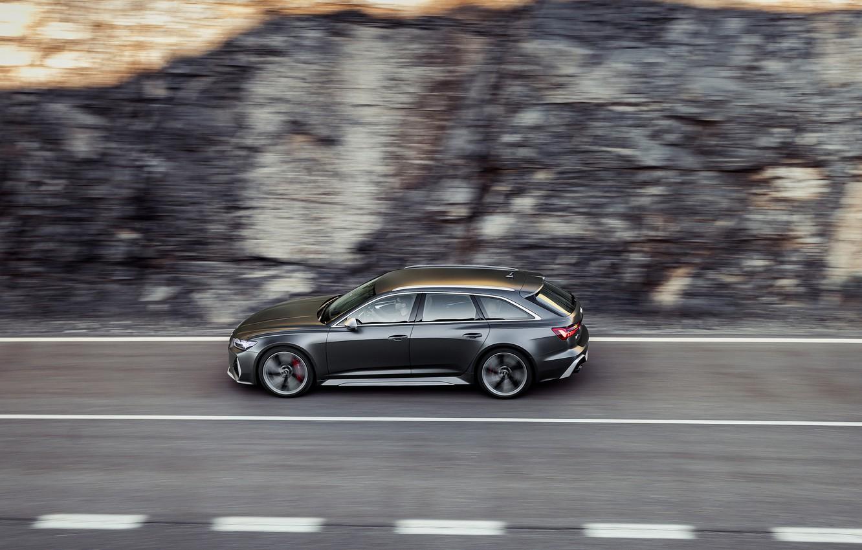 Photo wallpaper movement, Audi, blur, side, universal, RS 6, 2020, 2019, dark gray, V8 Twin-Turbo, RS6 Avant