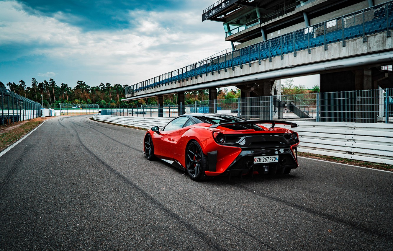 Photo wallpaper Ferrari, supercar, rear view, GTB, 2018, 488, Pogea Racing, FPlus Corsa