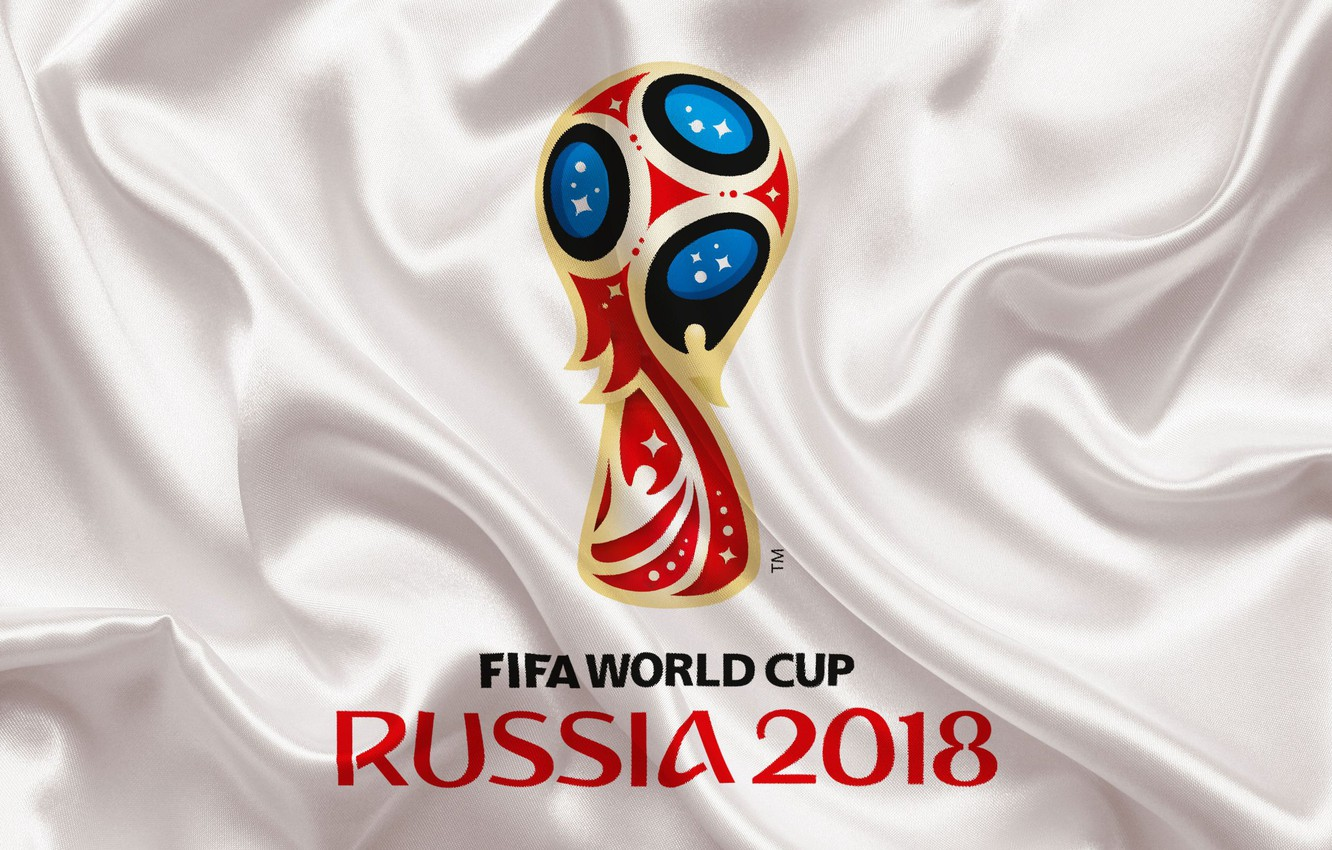Photo wallpaper sport, logo, Russia, football, soccer, World Cup, FIFA, white background, FIFA World Cup, official logo, …