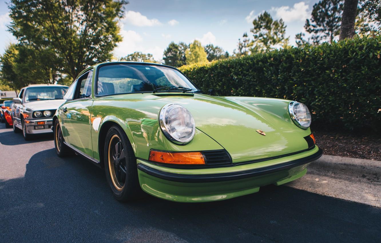 Photo wallpaper lights, Porsche, Porsche, green, wheel, 911 Carrera RS, Carrera RS