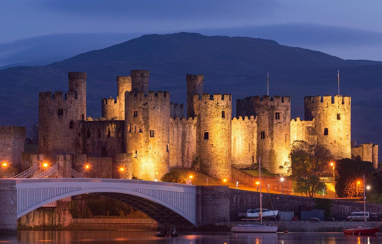 Photo wallpaper bridge, lights, tower, Wales, Conwy castle