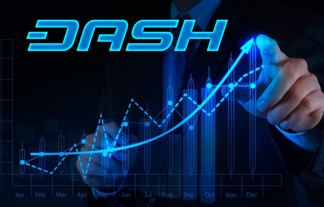 Photo wallpaper logo, currency, Dash, cryptocurrency, graffik