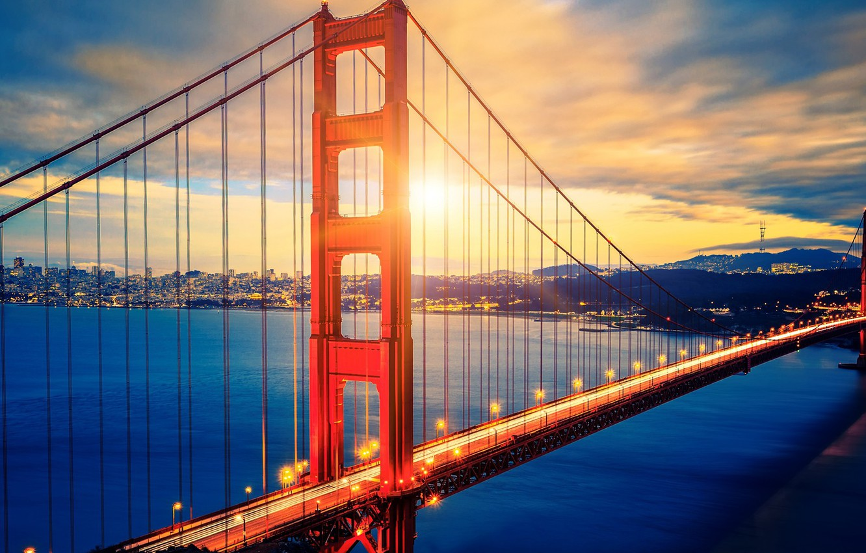 Wallpaper City Lights Usa Golden Gate Bridge Sky Sea Landscape Bridge Sunset California Clouds San Francisco Bay Cityscape United States Of America Images For Desktop Section Gorod Download