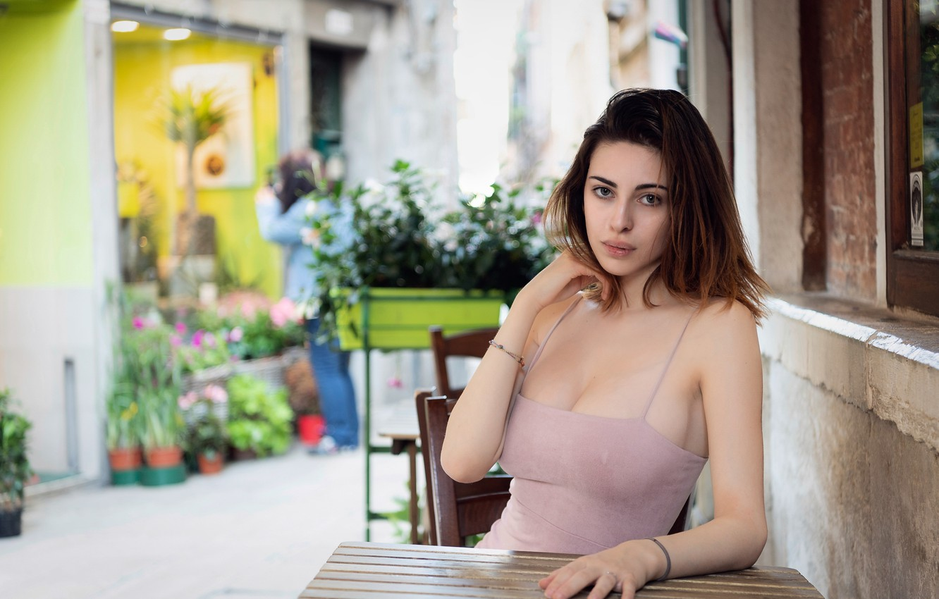 Photo wallpaper girl, cleavage, dress, breast, photo, photographer, blue eyes, model, lips, face, brunette, table, chest, sitting, …