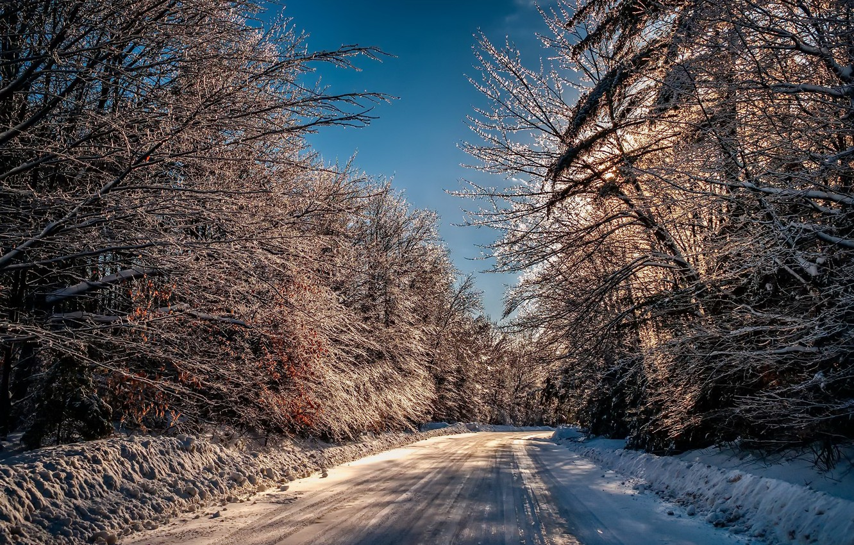 Photo wallpaper winter, road, morning