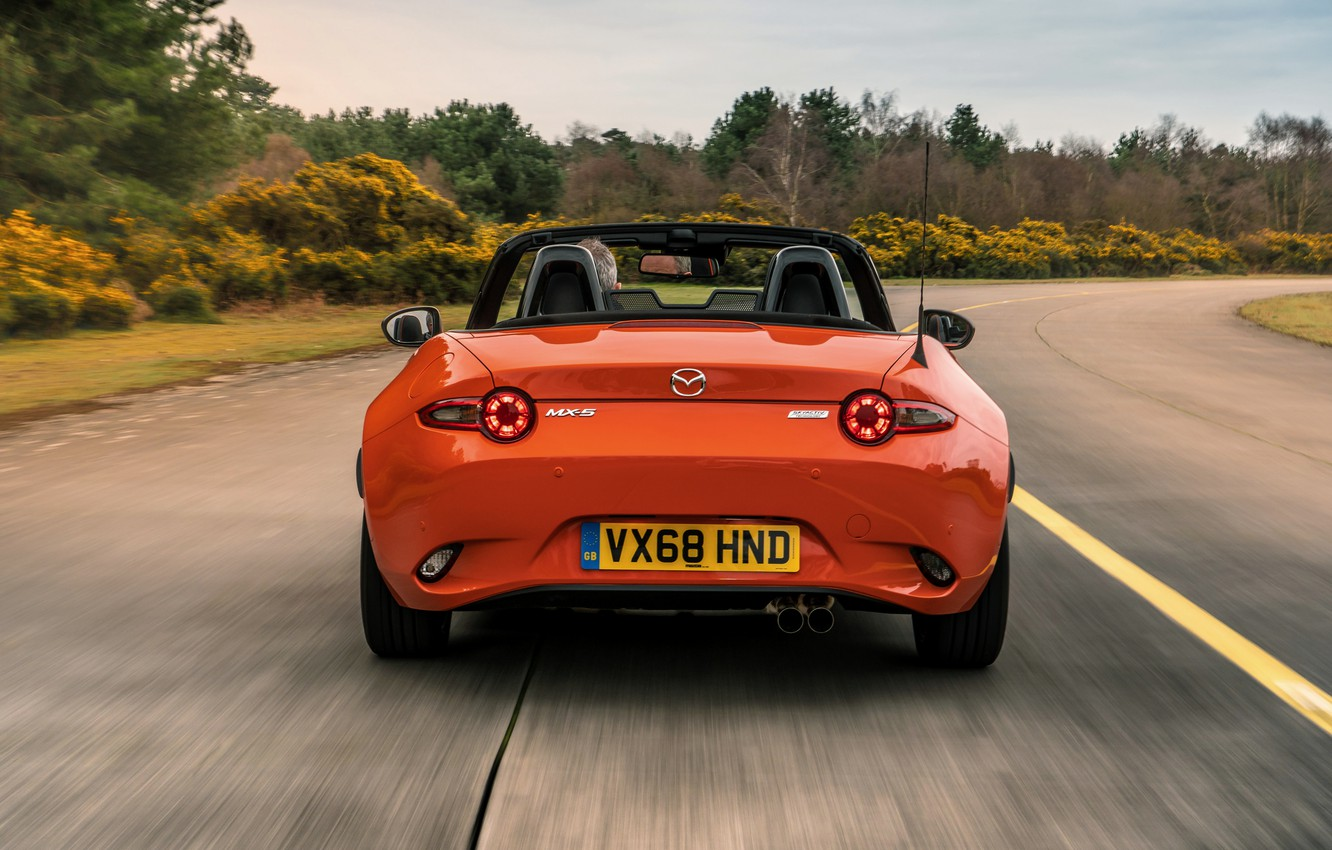 Photo wallpaper orange, Mazda, Roadster, rear view, MX-5, 30th Anniversary Edition, 2019