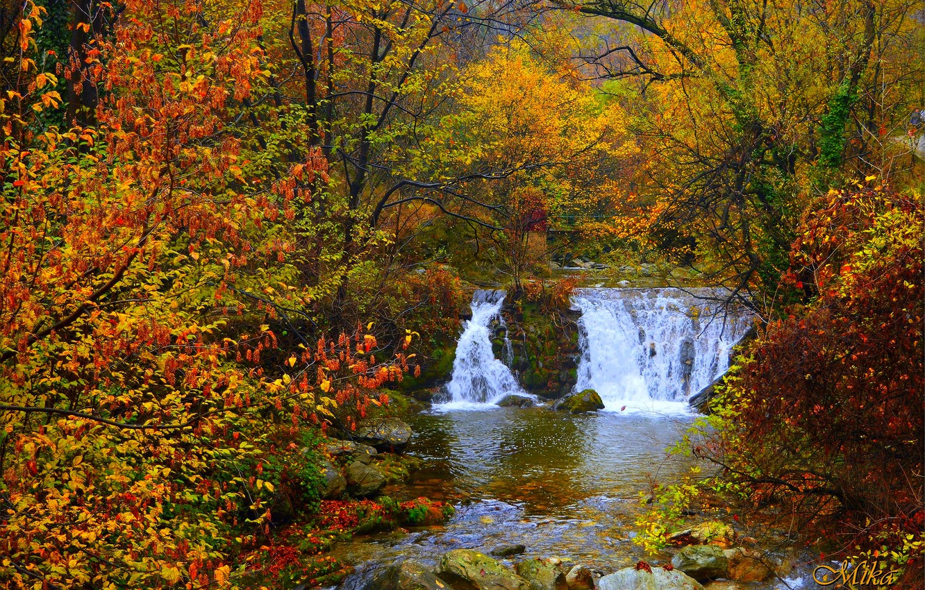 Photo wallpaper Waterfall, Autumn, River, Fall, Autumn, Waterfall, River