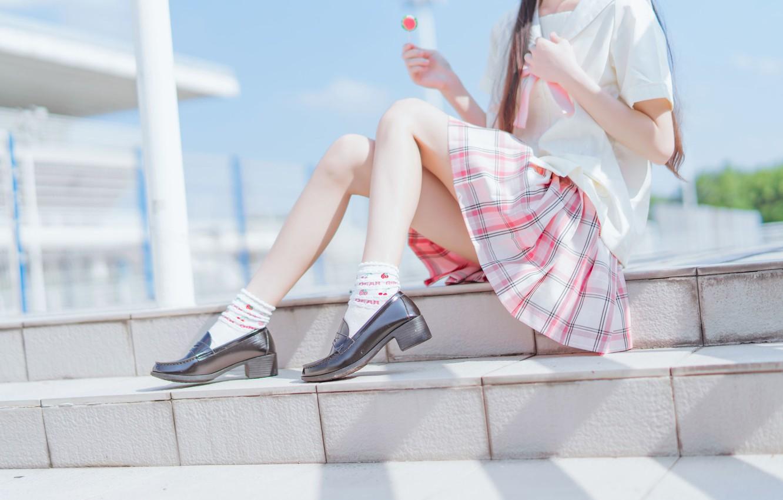 Photo wallpaper legs, pink, model, asian, babe, photoshoot, skirt, uniform, steps, lollipop, chic, midday