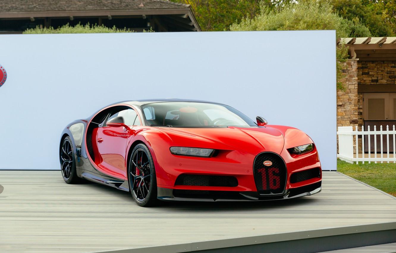 Photo wallpaper red, bugatti, black, chiron