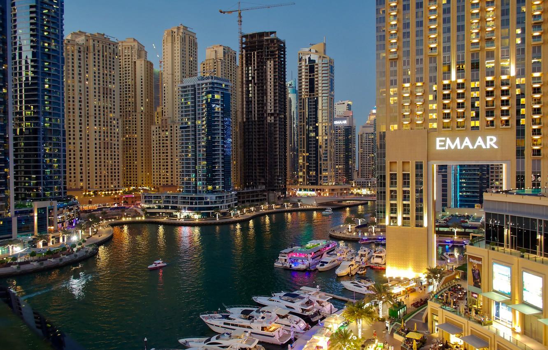 Photo wallpaper lights, river, home, yachts, the evening, Dubai, boats, Dubai, skyscrapers, UAE, piers