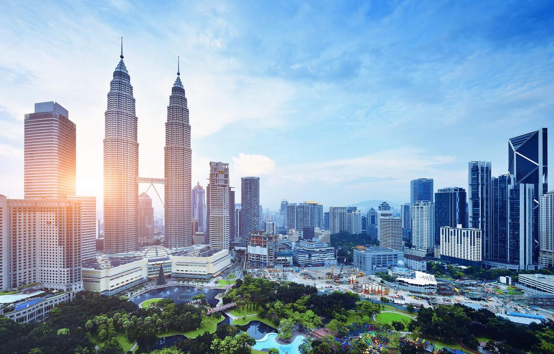 Photo wallpaper the sun, home, skyscrapers, Malaysia, Kuala Lumpur, KLCC Park