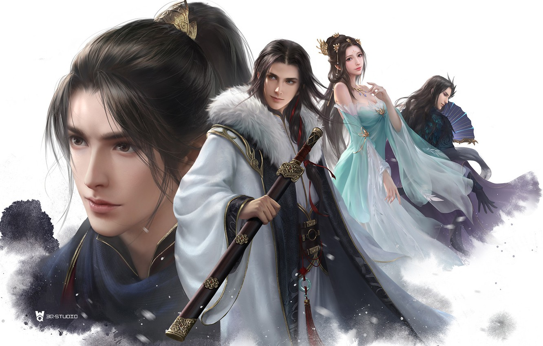 Photo wallpaper girl, fantasy, art, guy, 叁乔居 3QSTUDIO, Snow Hawk Lords 4 Man figure