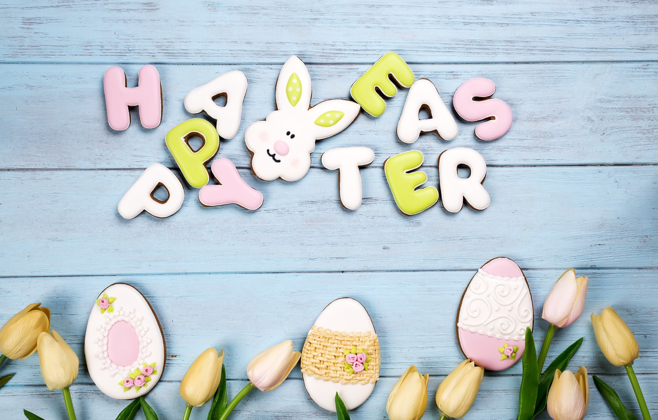 Photo wallpaper holiday, cookies, Easter, wood, glaze, Easter, composition, egg