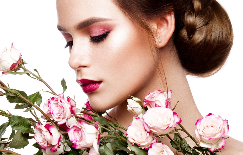 Photo wallpaper girl, flowers, portrait, model, Korabkova