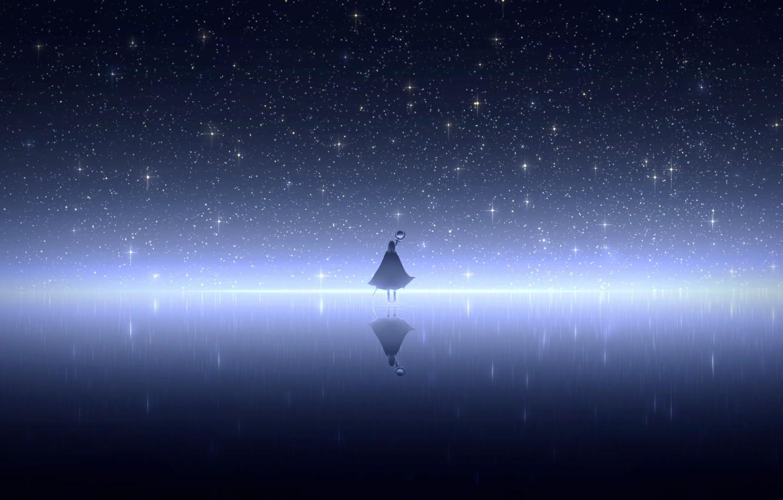 Photo wallpaper the sky, water, girl, night, staff, cloak, fanetti, soars